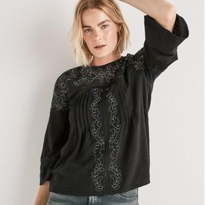 Lucky Brand Blouse Cut Out Peasant Top Black NWT